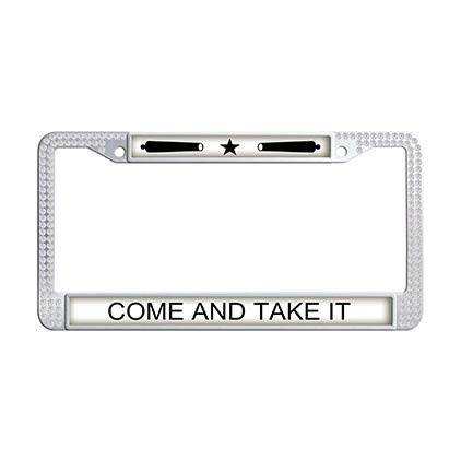 Dongsmer Come and Take it Auto License Plate Frame White Rhinestones American Patriotic Slogans Taglines Auto License Cover Holder -