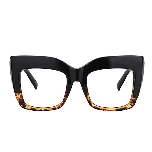 Zeelool Vintage Oversized Thick Cat Eye Glasses for Women with Clear Lens Alberta FP0668-02 Tortoise