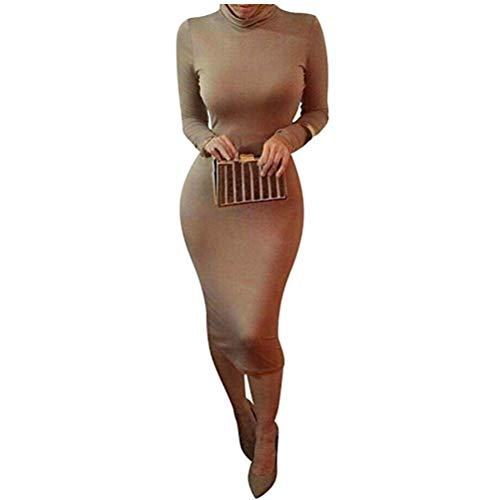 laiyuan Women Turtleneck Long Sleeve Slim Bodycon Wrap Tunic Pencil Midi Dress M Coffee