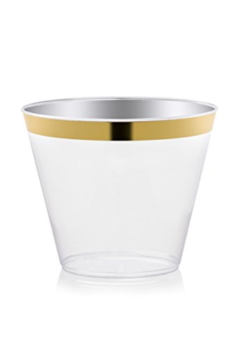 DRINKET Gold Plastic Cups 9 oz Clear Plastic Cups / Old Fashioned Tumblers Fancy Plastic Wedding Cups With Gold Rim 50 Ct Disposable For Party Holiday and Occasions SUPER VALUE PACK (Shiny Gold Plate)