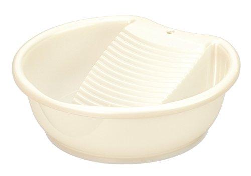 INOMATA 19070 White Rub Wash Plastic Laundry Pail