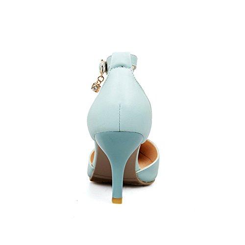 Amoonyfashion Donna Punta A Punta Tacco Medio In Materiale Morbido Pu Sandali Solidi Con Fibbie In Metallo Blu