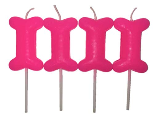 Pink Dog Birthday Candles 4 Pack Bone Shape ()