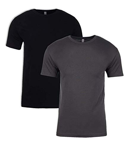 Next Level Mens Premium Fitted Short-Sleeve Crew T-Shirt - Heavy Metal + Black (2 Pack) - - Black Short Apparel Sleeve Crew