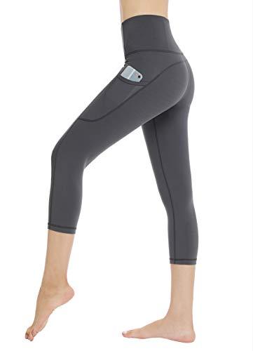 Dragon Fit High Waist Yoga Leggings with 3 Pockets,Tummy Control Workout Running 4 Way Stretch Yoga Pants (Medium, Dark Grey) ()