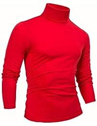 Mens Turtleneck T-Shirts Mock Turtleneck Slim Fit Long Sleeve Pullover Sweater Tee