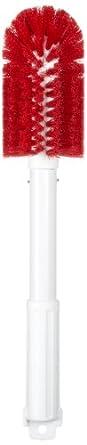 "Carlisle 4000405 Sparta Spectrum Multi-Purpose Round Valve and Fitting Brush, Plastic Handle, Red Polyester Bristles, 6"" L x 3"" Dia. Brush, 16"" Overall Length (Case of 6)"