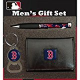 MLB PU Tri-fold Wallet Pen and Keychain Gift Set MLB Team: Boston Red Sox