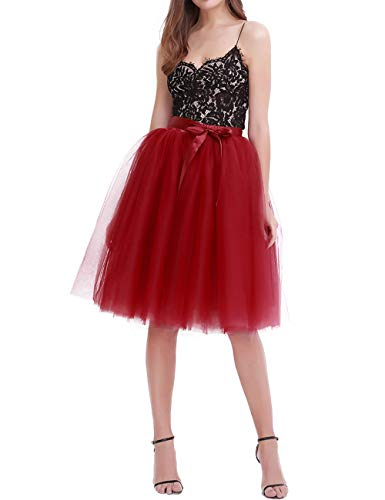 (Women's Solid A Line Midi/Knee Length Tutu Skirt 6 Layered Pleated Tulle Petticoat Dance Tutu(Wine red))