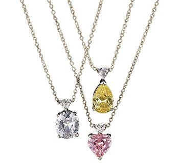 Avon Pink Heart Fancy Shape CZ And Trillion Pendant Necklace