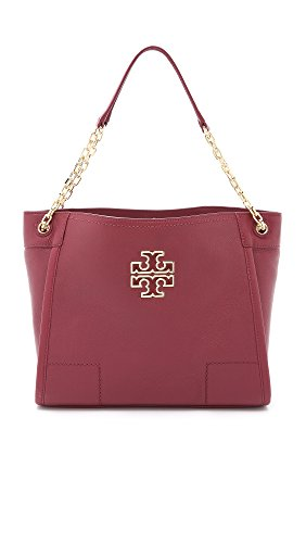 Tory Burch Women's Britten Small Slouchy Tote, Red Agate, One - Bag Purple Tory Burch