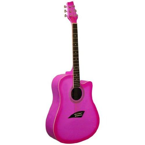 Kona K1PNK Acoustic Dreadnought Cutaway Guitar in Gloss Pink Burst Finish (Pink Cutaway Acoustic Guitar)