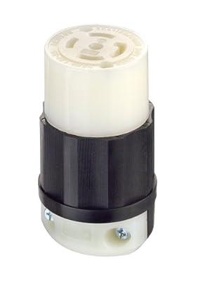 Leviton 2813 30 Amp, 120/208 Volt 3PY, NEMA L21-30R, 4P, 5W, Locking Connector, Industrial Grade, Grounding - Black-White