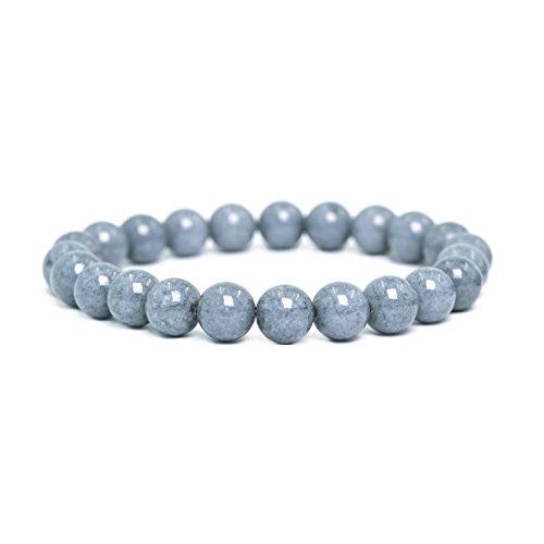 tom+alice Women 22 Beads Chakra Reiki Stretch Bracelets Healing Pover 8MM Gemstone Round Light-Gray for (Gray Round Bracelets)