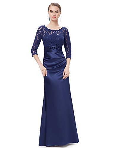 Ever-Pretty Womens Lace 3/4 Sleeve Ruched Long Military Ball Gown 6 US Navy Blue