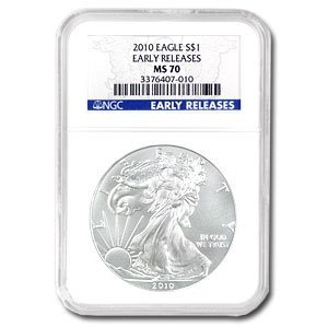 2010 Silver American Eagle (NGC MS-70) Early Release, used for sale  Delivered anywhere in USA