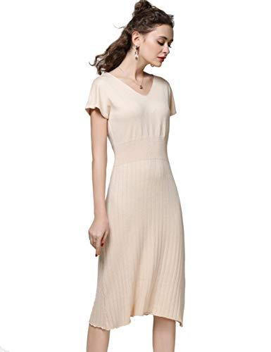 Off White Dress Women 2019 Spring Summer Cashmere V-Neck Short Sleeve Striped Knitted Midi Sweater Dresses (L, D-Beige)