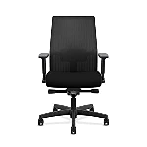 HON Ignition 2.0 Mid-Back Adjustable Lumbar Work Mesh Computer Chair for Office Desk (Black Fabric)