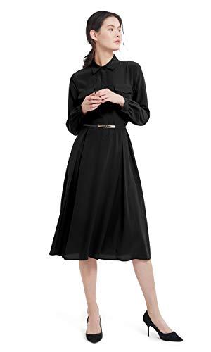 LilySilk Silk Dress for Women Long Sleeve Retro Graceful with Belt Shirt Dress Ladies Tunic Prom Black XL/14-16