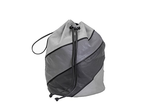Paint Genuine Leather Grey Monochrme draw string Bag