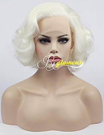 Amazon.com   Riglamour Ladies Short Wavy White Blonde Lace Front Synthetic  Celebrity Style Wigs for Women Heat Resistant 100% Fiber Hair  1001 Color    ... c1a9b3f4c2ed