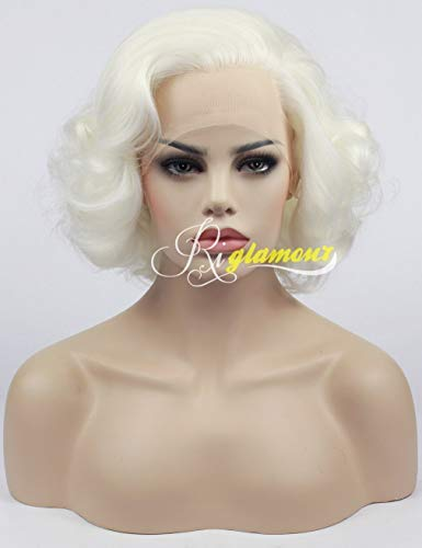 Riglamour Ladies Short Wavy White Blonde Lace Front