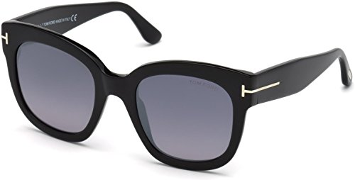 Tom Ford FT0613 01C Shiny Black Beatrix Square Sunglasses Lens Category 3 ()