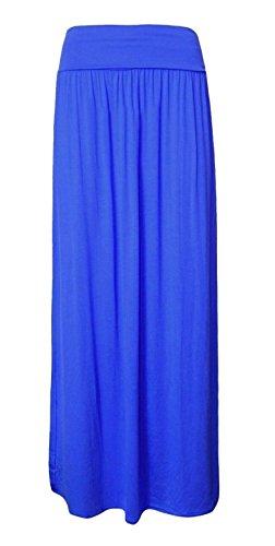 Taille Gitane Jupe Longueur Simple Pleine Femmes Fk Repliée Styles Bleu Style Maxi qO0WT
