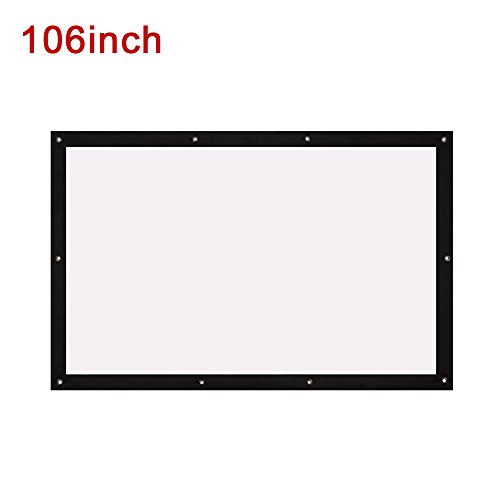 Folded Projection Screen Movie Screen Lightweight 4:3 with Hanging Hole Business Gaming_106 inches by ZZH