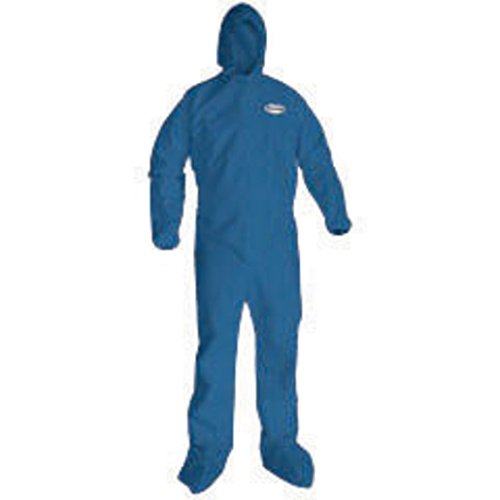 Microporous Film Disposable Coveralls (Kimberly-Clark Professional* X-Large Denim Blue KLEENGUARD* A60 Microporous Film Laminate Disposable Breathable Bloodborne Pathogen And Chemical Splash Protection Coveralls With Storm Flap Over Front Zipper Closure, Elastic Across the Back, Attached Boots And Hood, Elastic Ankles And Elastic Wrists)