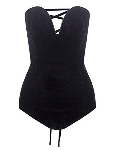 M.Brock Women's Plunging Sweetheart Back Lace Up Velvet Bodysuit (Small, Black) ()
