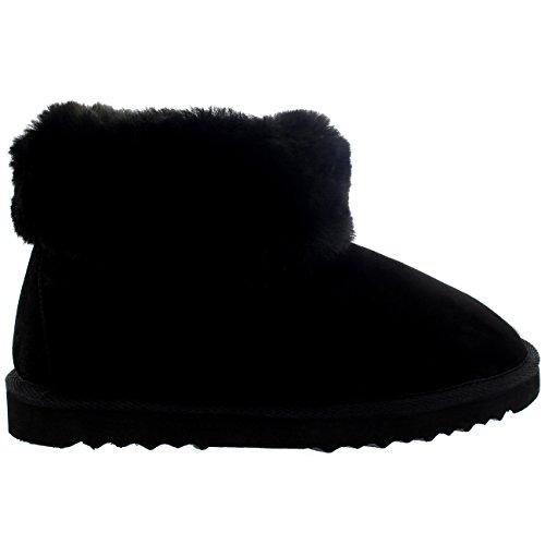Caoutchouc Bottes Chaussons Peau Femmes Mouton en Noir de Epais Semelle Authentique Poignet Polarr Fourrure xAwvgpBA