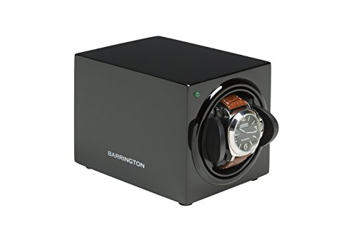 Barrington Watch Winder Box for Single Watch - Compact Watch Winders for Automatic Watches, Super Quiet Motor, Battery Powered and AC Adapter - Can Be Used with Watches for Both Men & Women (Black)