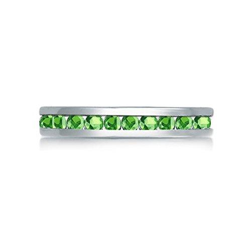 Swarovski Ring Crystal Peridot (Samie Collection Rhodium Plated Swarovski Crystal Birthstones Stackable 3mm Eternity Ring Band)