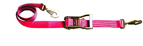 S-Line 500-C8-RED Ratchet Car Tie Down with Snap Hooks, Red Webbing, 2-Inch by 8-Feet