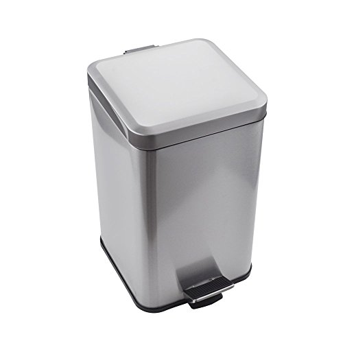 (Kes Stainless Steel Square Step Trash Can with Removable Inner Bucket Silent Close Lid and Fingerprint-Proof Brushed Nickel Finish for Modern Hotel Office Home 12 L / 3.2 Gal, STC210S12-2)