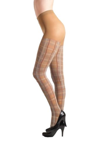 Fashion Mic Sheer Glittery and Plaid Fashion Tights (one size, plaid (Plaid Sheer)
