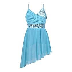 Blue Sequined Dance V-Neck Spaghetti Straps Dancing Costume