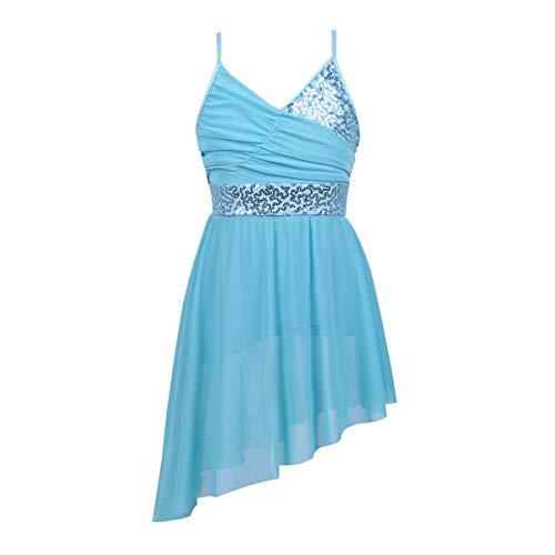 Asymmetrical Camisole Dress - iiniim Girls V-Neck Sequined Ballet Lyrical Dance Dress Gymnastics Camisole Leotard Asymmetrical Chiffon Skirts Light Blue 12-14