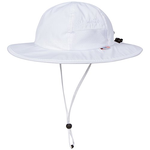 SwimZip Unisex Child Wide Brim Sun Protection Hat UPF 50 Adjustable White 0-6 Month