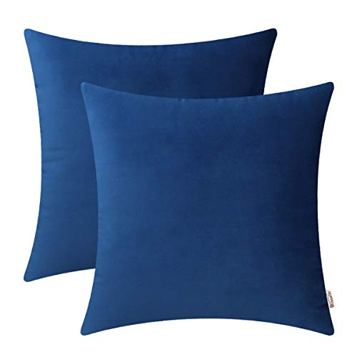 (BRAWARM Cozy Throw Pillow Covers Cases for Couch Bed Sofa Solid Soft Fleece Cushion Covers Microfiber Short Velvet Pillowcases Both Sides for Home Decoration 18 X 18 Inches Navy Blue Pack of 2 )
