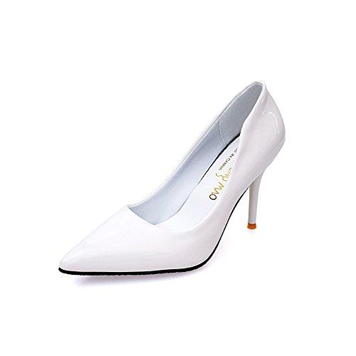 LIVY El nuevo club nocturno atractivo de alta con escogen los zapatos finos con la boca baja señaló modelos de zapatos de tacón alto de explosión Blanco