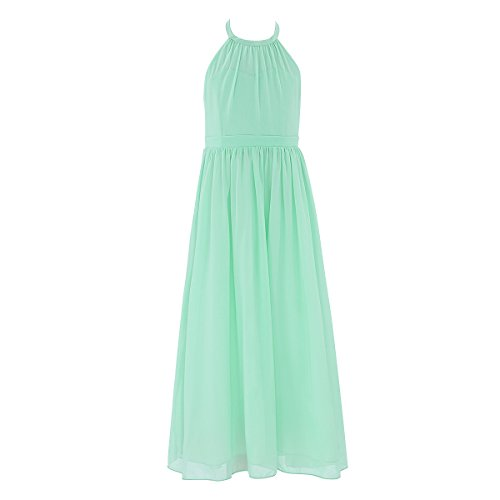 YiZYiF Kids Big Girls Scoop Neck Chiffon Bridesmaid Dress Princess Pageant Ball Gown Turquoise 8 ()