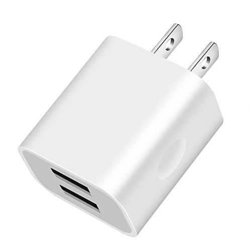 USB Wall Charger 2.1A Dual USB Charger Adapter Quick Charger for iPhone X 8/7/6 Plus SE/5S/4S,iPad, iPod, Samsung Galaxy S7/S6/S5 Edge, LG, HTC, Huawei, Moto, Kindle and More (White)