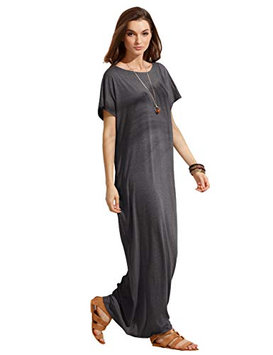 (Verdusa Women's Short Sleeve Casual Loose Long Maxi Dress with Pockets #2 Dark Grey XL)