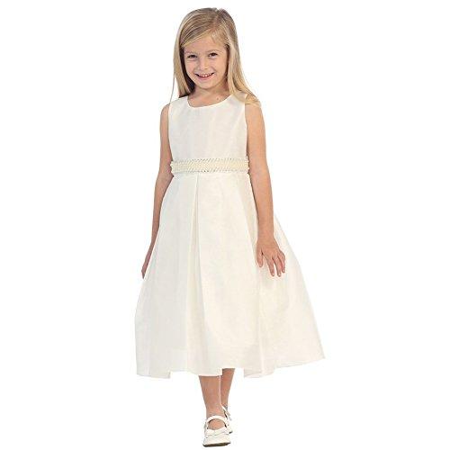Silk Shantung Flower Girl Dresses - Little Girls Ivory Pearl Adorned Waist Silk Shantung Flower Girl Dress 5/6