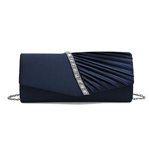 - Charming Tailor Evening Handbag Crystal Embellished and Pleated Satin Clutch (Navy Blue)