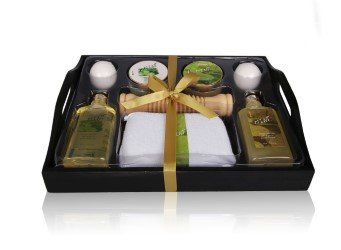 Peppermint Aromatherapy Bath, Body & Hair Gift Set for Women – 8pc Mint Scented Spa Products Enriched with Natural Argan Oil – Stress-Relief & Relaxation Shower Kit in Wooden Tray