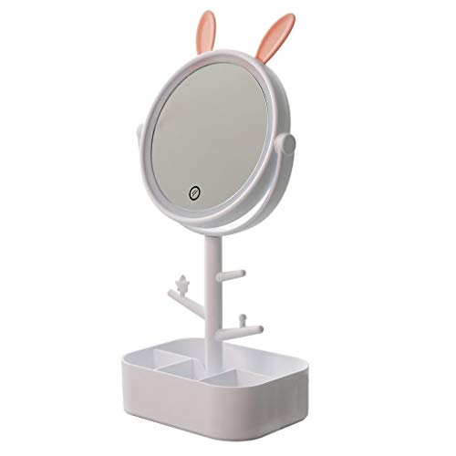 Makeup mirror LAOSUNJIA Desktop LED Light Multicolor Light 360 Degree Rotating Chassis Can Store Items HD for Home Beauty Salon White 35.515cm (Chassis Lighting)
