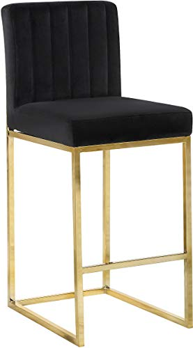 Meridian Furniture 781Black-C Giselle Collection Modern | Contemporary Black Velvet Upholstered Counter Stool with Polished Gold Metal Base, 16